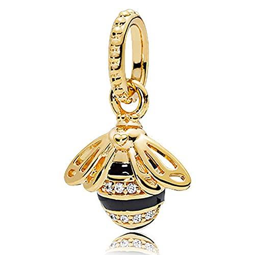 Pandora 925 Sterling Silvercharm Beautiful Golden Bee Pendant Fit Women Necklace diy Love Jewelry