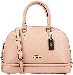Coach F27597 Signature Debossed Patent Leather Mini Sierra Satchel Crossbody Handbag for women- SV/Light Pink