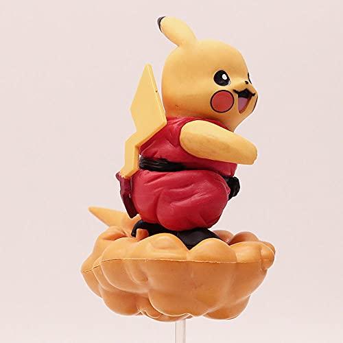 Factorydiy Figuras Anime Baratas Pokemon Goku Pikachu Voltereta Nube Figura Alto Aproximadamente 10 CM, Adultos y fanáticos del Anime