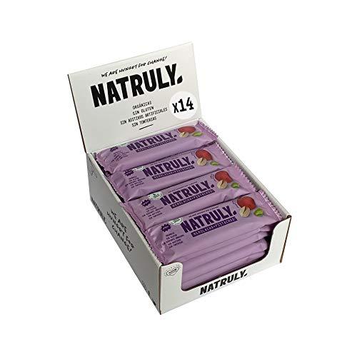 NATRULY Barritas Energéticas BIO Remolacha y Pistacho Sin Azúcar Añadido, 100% Natural y Orgánicas, Sin Gluten, Vegana -Pack 14x40g