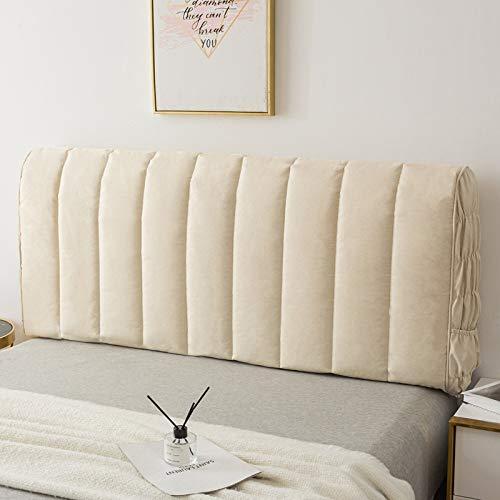 zyl Sänggavel skydd säng huvud överdrag skydd med stretch sida och ficka allomfattande dammtät bomullsöverdrag för tvilling/drottning/king size sänggavel, beige – 150 cm