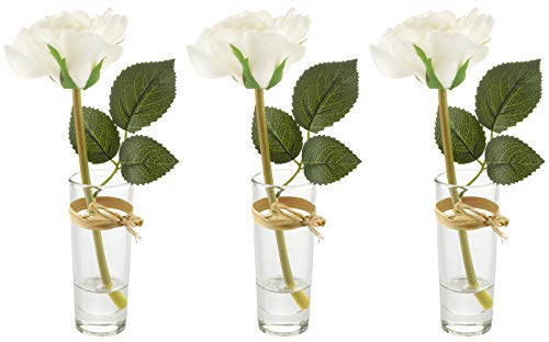 Artificial Flowers – Set of 3 Real Touch White Roses in Decorative Glass Bud Vases - Home Decor – 8.26in/21cm Tall - Living Room, Dining, Dressing or Coffee Table, Desk, Bedroom – Gift for Her