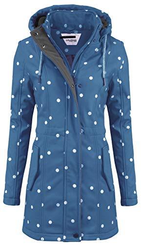 ODYSSEE Damen Softshell Mantel gepunktet Parka Jacke Kapuze Outdoor Übergang, Größe:L, Farbe:Jeansblau