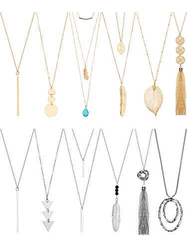 12 Long Pendant Necklace Set Y Tassel Leaf Circle Bar Necklace for Women (Tassel)