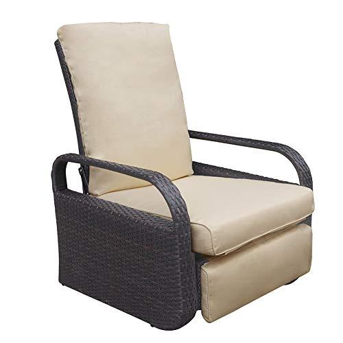 ATR ARTTOREAL Garden Reclining Chair with Khaki Cushions, Patio Furniture Auto Adjustable Rattan Armchair, UV/Fade/Water/Sweat/Rust Resistant