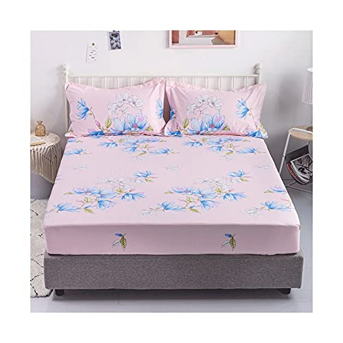 MZP Una Pieza Sabanas Bajeras Ajustable 100% algodón Sabanas Bajera Cama Alto Especial 28cm impresión patrón Sábana Bajera Lisa Bed Sheets (Color : Pink, Size : 150x200cm)