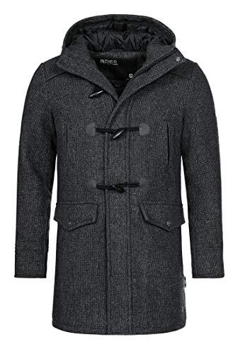 Indicode Herren Liam Dufflecoat mit Stehkragen und Kapuze | moderner Wollmantel mit 5 Taschen Warmer Wintermantel gefütterter Herrenmantel Winter Jacke Mantel für Männer Black Mix M