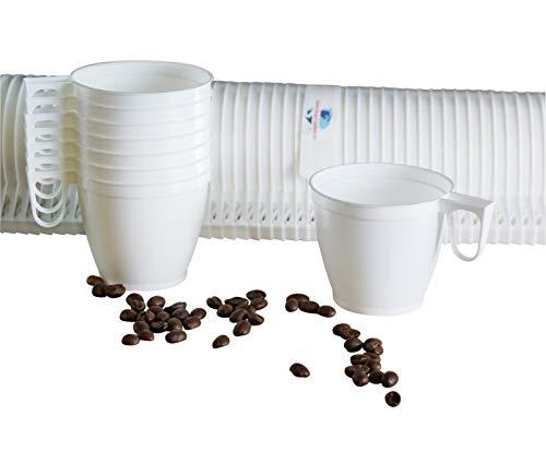 Gastro-Bedarf-Gutheil 120 Kaffeebecher Einweg Kaffeetassen Plastik mit Henkel Weiß