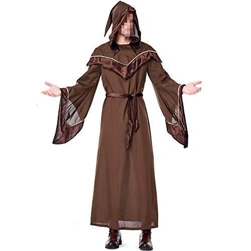 kMOoz Halloween Kostüm,Outfit Für Halloween Fasching Karneval Halloween Cosplay Horror Kostüm,Pate Männlicher Zauberer Kostüm Halloween Cosplay Bar Tanzbühne