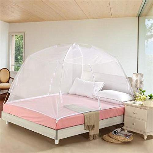 Zomer dubbel opklapbaar raster insectenbed Mongolië muggennet muggennet extra groot beddengoed hemel gordijn Dome Tent 180X200 cm Kleur: wit