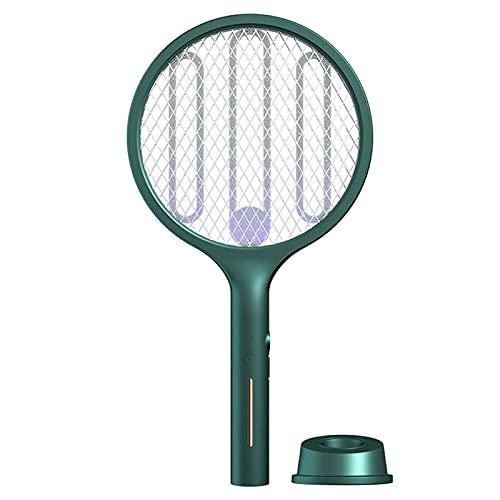 2 in 1 Fliegenklatsche Elektrische Insektenvernichter,USB Wiederaufladbarer UV/LED Beleuchtung Fliegenfänger Zapper Doppelte Schichten Mesh Schutz Mückenklatsche Moskitoschutz (1 PC, Grün)