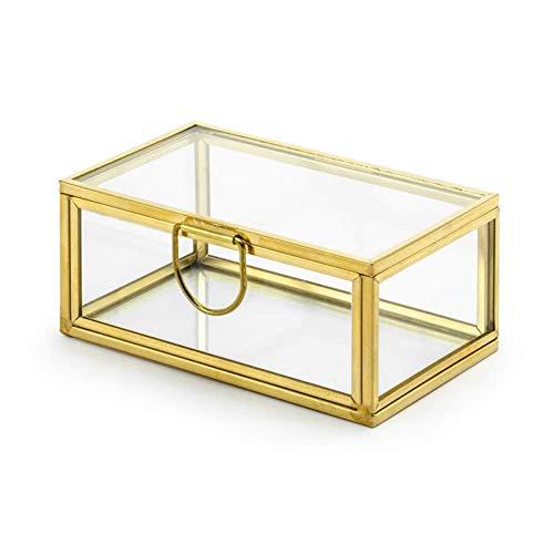 Ringbox aus Glas mit Goldrand und Deckel