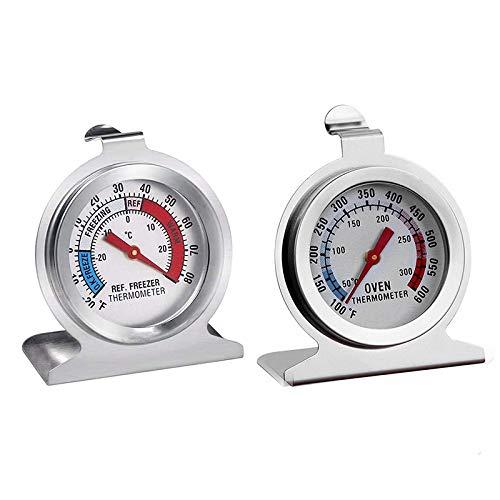 Bayda Juego de 2 termómetros para nevera, termómetros de cocina para monitoreo de esfera grande