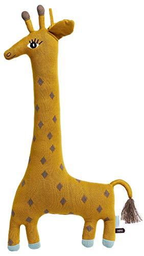 OyOy Mini Noah Giraffe Cushion - Süßes Baby Kinder Kissen - Großes Kuschelkissen und Schmusekissen - Baumwolle 60 x 27 cm