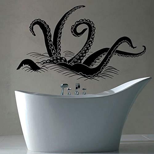jtxqe Kraken-Tentakel Spritzen Aus Meerestierozean Symbol Wandaufkleber Abnehmbares Vinyl Wohnzimmer Schlafzimmer Wohnkultur Wandaufkleber 98X57Cm