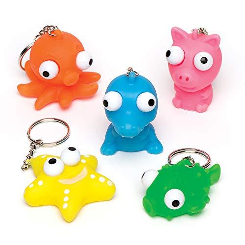 Baker Ross Porte-clés animaux aux gros yeux parfaits pour les pochettes-surprises pour enfant (Lot de 6)