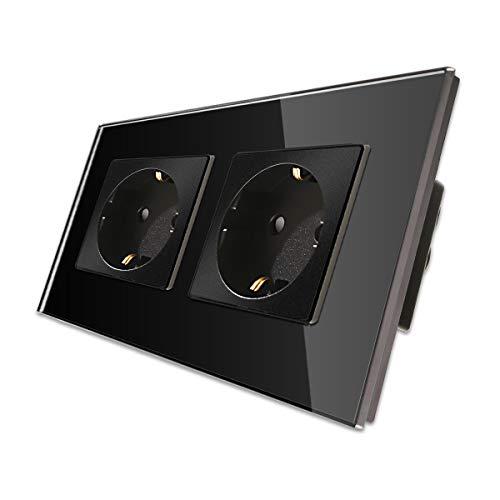 CNBINGO Enchufe double 16A con vidrio negro templado,protección infantil,material ignífugo,Enchufe Schuko estándar de la UE