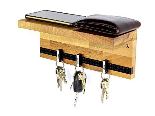 Schlüsselbrett Play 203 Holz | Schlüsselboard mit Ablage für die ganze Familie | Schlüsselleiste Nussbaum mit 6 Schlüsselanhängern zum selbst beschriften | inkl. Schrauben und Dübel | schwarz