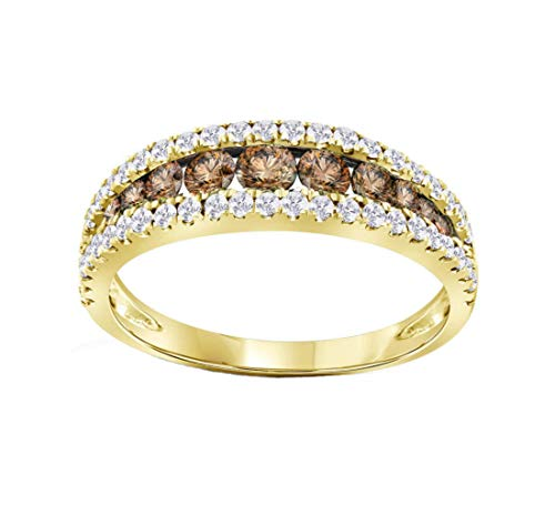 Brandy Diamond Chocolate Brown 14k Yellow Gold Stunning Eternity Ring 1/2 Ctw.