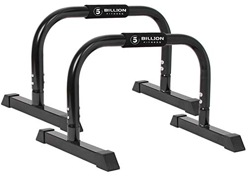 5BILLION XL Push Up Stands Parallettes Dip Bars with Non-Slip Foam Handle & Rubber Feet Workout for Handstand Muscle Ups Push Ups Home & Gym Training (Black, X-Large)