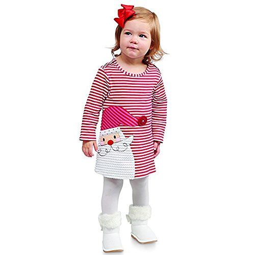 URSING Kleinkind Kinder Baby Mädchen Santa Prinzessin Kleid mit Streifen Weihnachtskleid Mädchenkleid Weihnachtskleidung Weihnachtskostüm Weihnachtsmann Kleid Festliche Kinderkleider