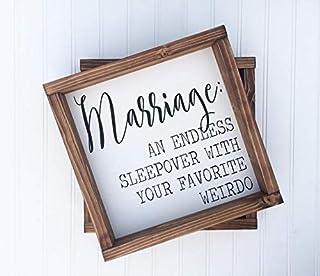 VinMea Marriage an Endless Sleepover with Your Favorite Weirdo Funny Farmhouse Style Wood Sign