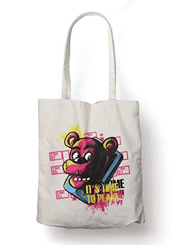 BLAK TEE Gamer Bear It`s Time To Play Slogan Organic Cotton Reusable Shopping Bag Natural