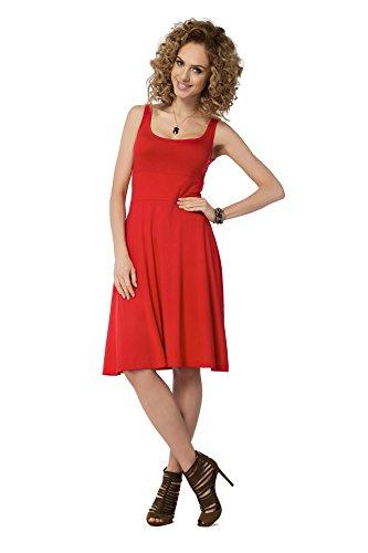 AE Kleid Sommerkleid in 5 Farben Gr. S M L XL 2XL 3XL, B19 Rot XL/2XL 42/44
