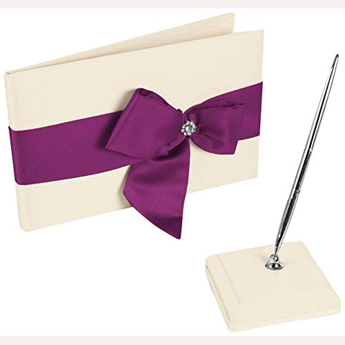 David's Bridal Regal Ties Guest Book and Pen Set Style DB75GBP, Ivory/Raspberry