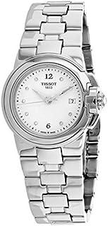 ساعة بمينا ابيض وسوار من الستانلس ستيل للنساء من تيسوت - T0802101101600، عرض انالوج