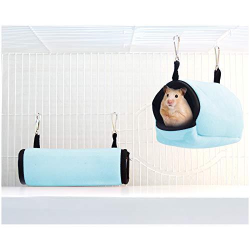 Andiker - Túnel y cama para hámster, cama colgante y túnel para hámster, casa de algodón de tamaño pequeño, habitacional, ratón, chinchilla, cobaya, gerbola, color azul