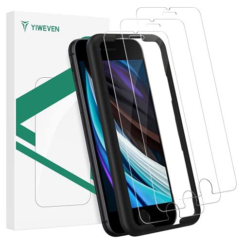 """YIWEVEN Protector de Pantalla para iPhone SE 2020/8/7 [3 Unidades] - Cristal Vidrio Templado con Posicionador para iPhone SE 2020 4.7"""" [2.5D Borde Redondo] [9H Dureza] [Alta Definicion]"""