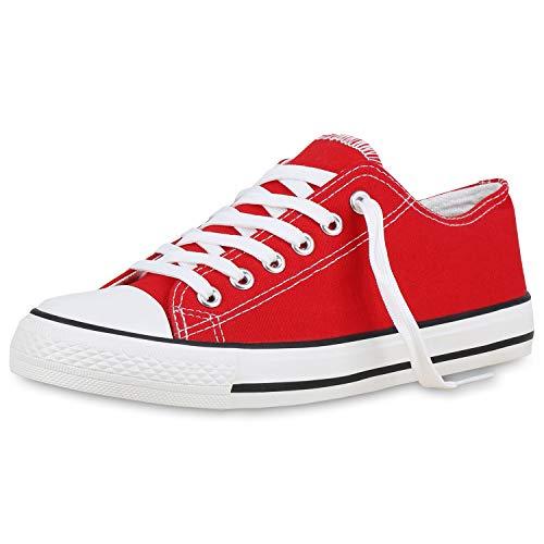 SCARPE VITA Damen Sneakers Sportschuhe Freizeit Schnürer Stoffschuhe 177209 Rot Basic 38