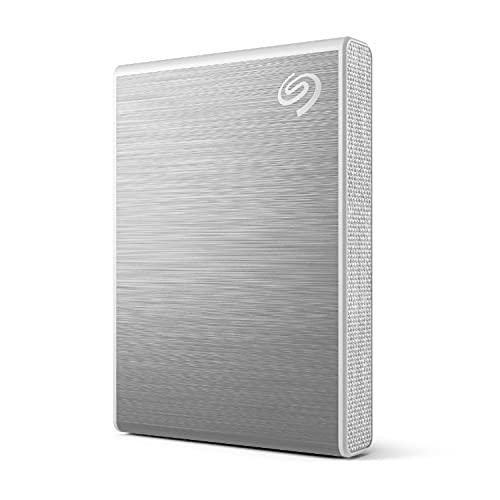 Seagate One Touch SSD, 500GB, plata, velocidad de hasta 1030MB/s, con app para Android, 1 año de Mylio Create, 4 meses del plan Adobe Creative Cloud Photography y servicios Rescue (STKG500401)