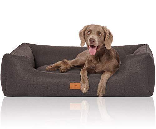 Knuffelwuff Hundebett XXL Malia Hundekorb Hundesofa Hundekissen Hundekörbchen waschbar grosse Hunde Schwarz 120 x 85cm