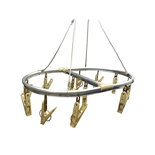 EUROXANTY Tendedero Colgante | Tendedero Oval Aluminio | Tendedero para Colgar | Ropa Interior y Trapos | 12 Pinzas | para Ahorrar Espacio | Interior y Exterior