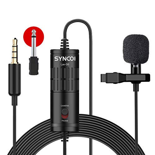 SYNCO Lavalier Mikrofon, Omnidirectional Kondensator Mic mit Windschutz, Ansteckmikrofon 3.5mm TRS/TRRS 6.3mm für Smartphone iPhone Android Huawei Samsung, PC Laptop, Kamera DSLR Camcorder Lav-S6