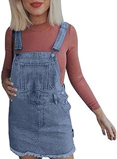 Toponly Women's Denim Overalls Dress Juniors Bib Skirt Adjustable Cute A-line Jean Skirtall Dungaree Pinafore