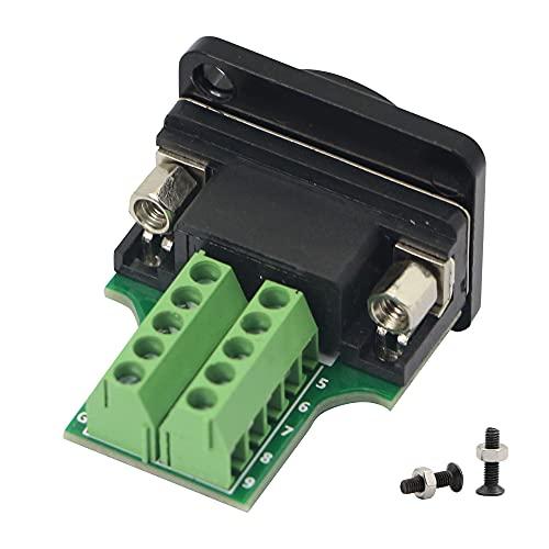 QIANRENON DB9 RS232 - Adaptador de serie a terminal hembra (9 pines, conector tipo D sin soldadura), color negro