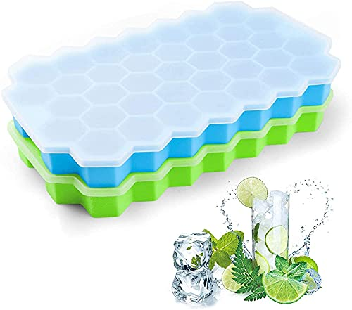 XAMILE Ice Cube Tray with Silicone, 74 Mold Shape Stackable Ice Trays for Freezer, Silicone Ice Mold Trays, Easy Release, 2 Pack