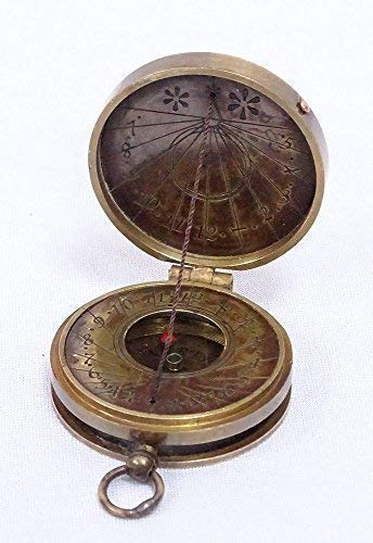 Linoows Bolsillo Reloj de Sol Compás, Sonnenuhr- Compás Stanley Londres, Latón Antiguo