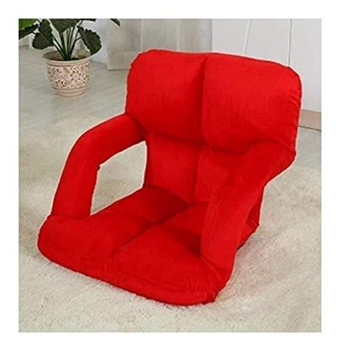 Sheeouis Sofá Perezoso Plegable Textiles para el hogar Privado Piso Lazy Sofa Tatami Cama Individual Creativa Plegable de Ocio Reclinador (Color: Negro) (Color : Red)