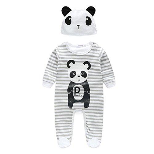 Tonsee Baby junge Mädchen Kleidung Tier Spielanzug mit Hut Langarm Overalls Winter Strampler (0-3M, Panda)