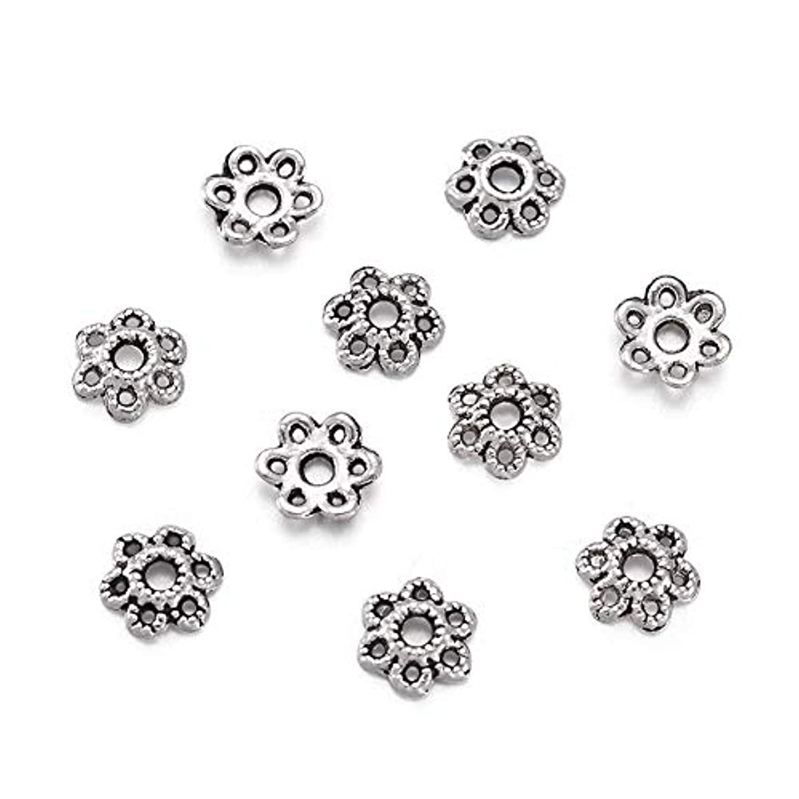 Craftdady 100PCS 6mm Tibetan Antique Silver 6-Petal Hollow Flower Bali STYL Metal Silver Bead Caps Metal Spacers for Jewelry Making Supplies, Nickel Free