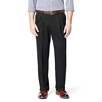 DOCKERS Men's Relaxed Fit Comfort Khaki Cuffed Pants-Pleated D4, Black Metal (Stretch), 40W x 32L