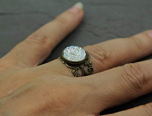 Damen Fingerring Vintage Ring mit Stein Antik Bronze Farbe Statement Glitzer Stein