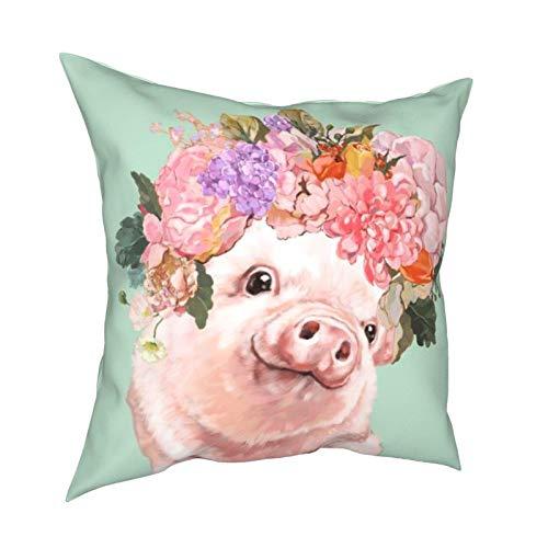 WALL-8-CC - Funda de almohada para bebé, diseño de cerdo con flores y corona en color verde pastel, 45 x 45 cm, para decoración de sofá, dormitorio, sala de estar