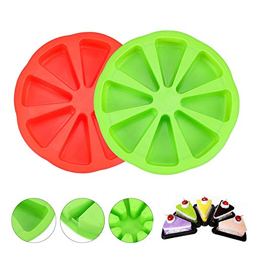 2 Pcs Silicone Cake Scone Pan,Triangle 8 Cavity Pizza Cake Panfor for Cornbread Brownies Muffins And Soap Mould DIY Baking Tool