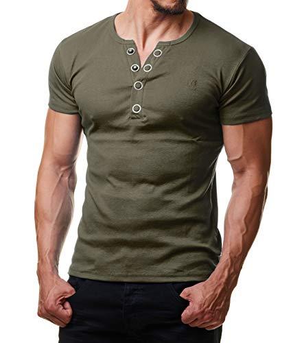 Young & Rich Herren T-Shirt Rundhals Knopfleiste Body Fit Schwarz Weiß Rot YR 1872, Größe:L, Farbe:Grün