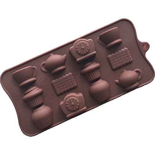 Perfectii 12 Kaffee Teekanne EIS Kekse Silikon Kuchen Schimmel Ice Tray Schokoladenform EIS Backen Dekoration Kochen Werkzeug Für Die Tägliche Nutzung Feier Party [zufällige Farbe]